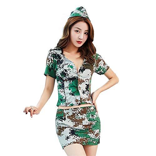 KTYRONE Conjunto de Uniforme de lencería Sexy para Mujer Disfraz de Camuflaje azafata Sexy tentación Discoteca Escenario,Verde,S