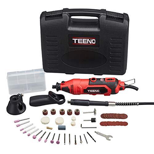 TEENO Mini Amoladora eléctrica Profesional Kit de herramientas rotatorias multifunción con 80 accesorios y Velocidad variable