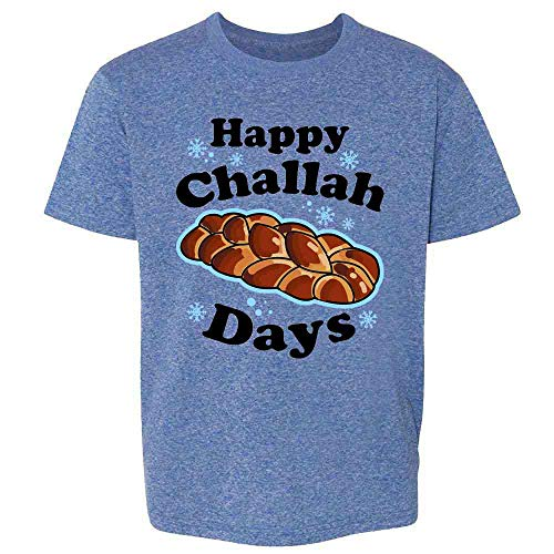 Pop Threads Happy Challah Days Funny Hanukkah Heather Royal Blue 2T Toddler Kids Girl Boy T-Shirt