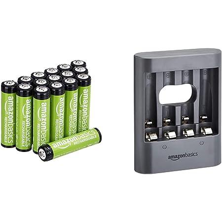 Amazon Basics Chargeur de Nuit USB - Noir & Piles Rechargeables AAA (Lot de 16) 800mAh pré-chargées
