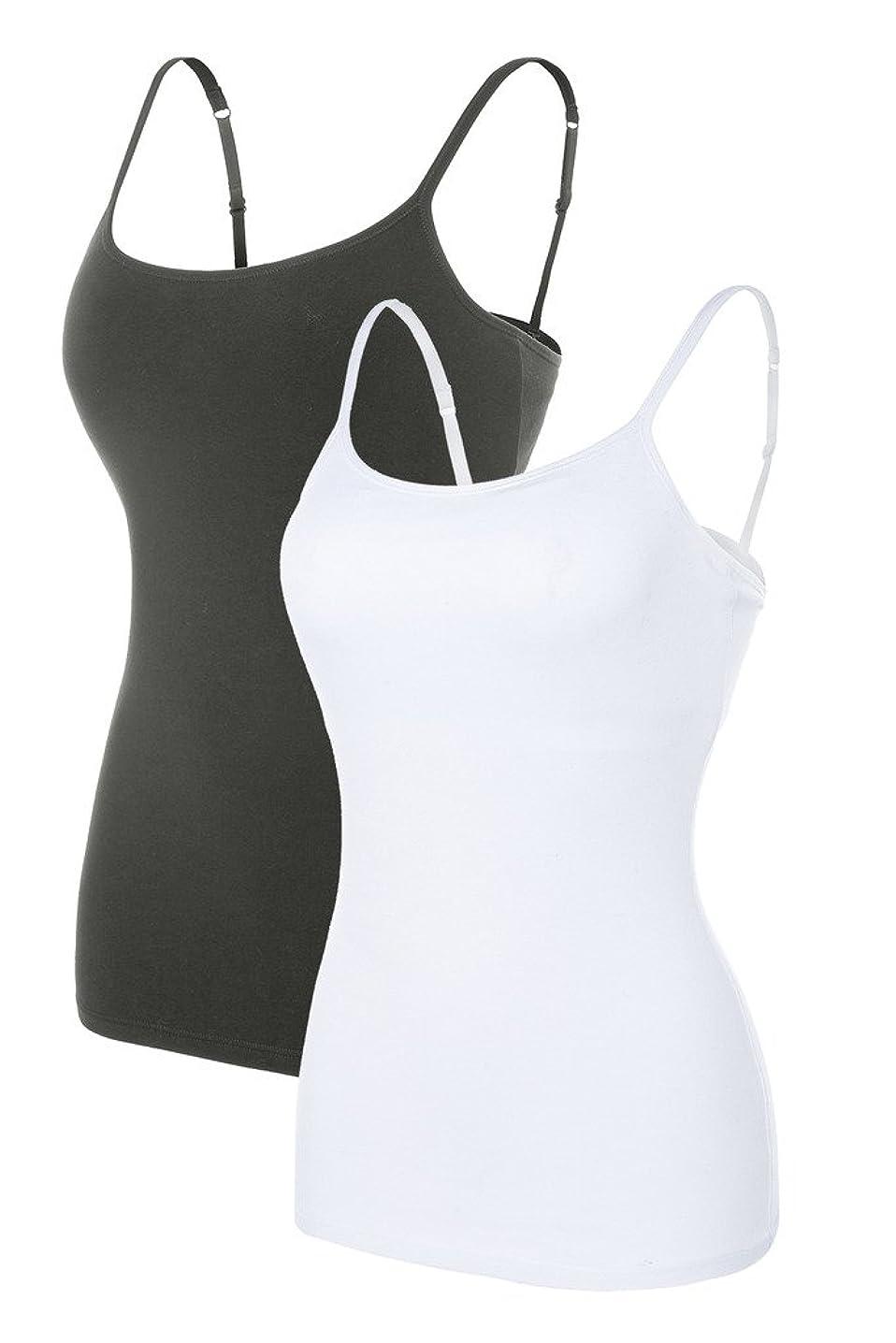 CharmLeaks Womens Cotton Camisole Shelf Bra Cami Tank Top Strechy Undershirts 2 Pack