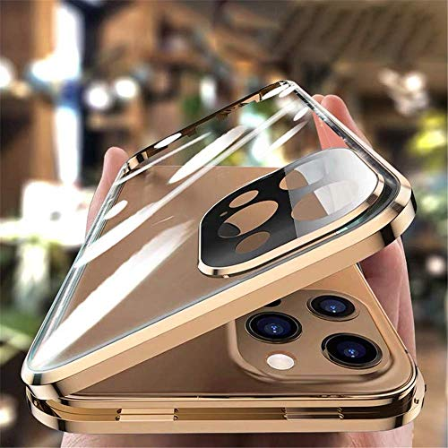 Anti-Peeping iPhone12 Pro Max case,with Safety Lock & Strong Magnetic adsorption Camera Lens Protector Metal Frame 360 Full Body Protective Double-Sided Glass (iPhone12Promax, Gold)