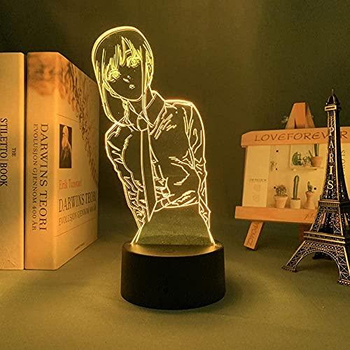 3D Anime Lámpara LED Noche Anime Motosierra Hombre Makima para Dormitorio Decoración Niños Regalo de Cumpleaños Manga Luz LED Mesa-Control Remoto