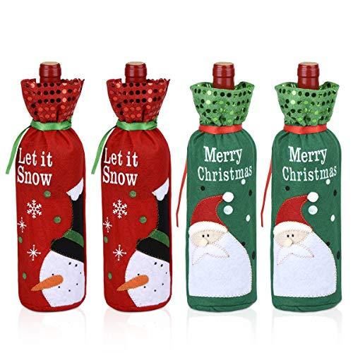 Weihnachten Weintasche Geschenk, 4 Stück Weihnachtsmann Wein Flaschenbeutel Schneemann Geschenktüten für Geschenke Party Decor
