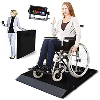 PEC Portable Wheelchair Scale/Digital Medical Scale with Dual Ramp, Side Handles and Wheels for Easy Moving, Capacity 700 x 0.1 lb Drum Scale (Black)