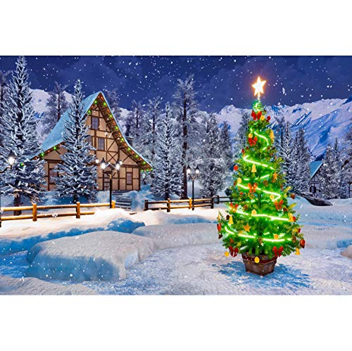 DORCEV 7x5ft Shining Xmas Tree Photography Backdrop Winter Snow Night Silver Pine Forest Background Christmas New Year's Eve Family Party Portraits Photo Studio Props