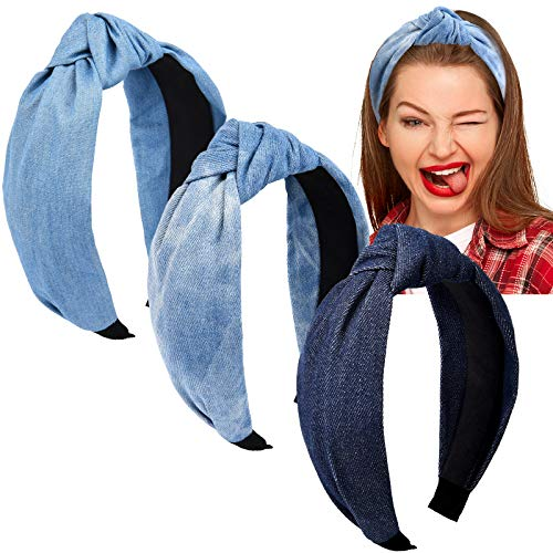 Giegxin 3 Pieces Knotted Denim Headbands Blue Jeans Headbands Hair Band Elastic Knotted Headbands Hair Accessories Headwear for Women and Girls, 3 Colors