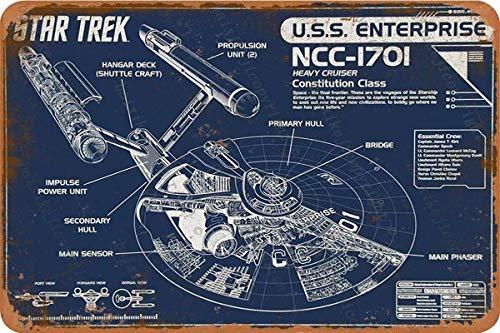 Cimily Star Trek Enterprise Blueprint Zinn Retro Zeichen Vintage Poster Plakette Wanddekoration für Bar Cafe Garten Schlafzimmer Büro Hotel 20X30 cm