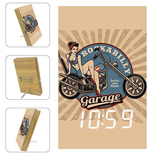 Desheze Frau auf Motorrad Elektronischer Digitaler Wecker Bett Automatische Sprachsteuerung Batterie Und USB-Aufladung 10x16x2.4cm
