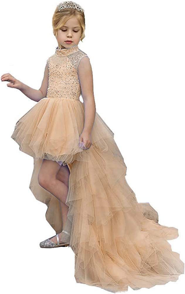 Honeydress Girl's High Neck A Line Wedding Beaded Pageant Gowns with Detachable Train Kids Prom Dress