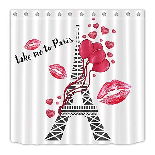 ZZZdz Eiffeltoren lippenstift, rood douchegordijn 180 x 180 cm. 12 haken gratis waterdicht en gemakkelijk te reinigen. Badkameraccessoires