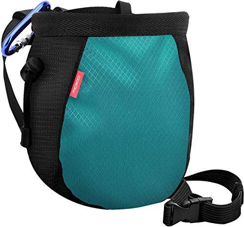 MoKo Rock Climbing Chalk Bag, Bouldering Chalk Bag Bucket with Adjustable Belt & Carabiner Drawstring Climbing Chalk Bag for Rock Climbing Weight Lifting Gymnastics Crossfit - Black & Light Blue