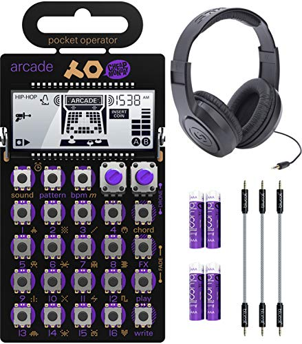 Teenage Engineering PO-20 Pocket Operator Arcade Synthesizer Bundle with Samson SR350 Over-Ear Stereo Headphones, Blucoil 3-Pack of 7' Audio Aux Cables, and 4 AAA Batteries