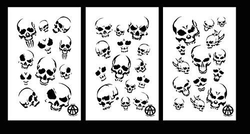 Acid Tactical® Acid Tactical® Mylar Camo Skull Gun Craft Malschablonen Modell RC Paint Camouflage 3 Pack Totenkopf Set