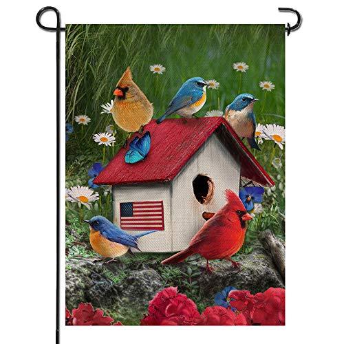 Artofy Home Decorative Cardinal Blue Birds Garden Flag, Summer Fall House Yard Outdoor Small Flag Birdhouse Daisy Flower Sign Double Sided, Rustic Autumn Outside Decorations Seasonal Decor 12 x 18