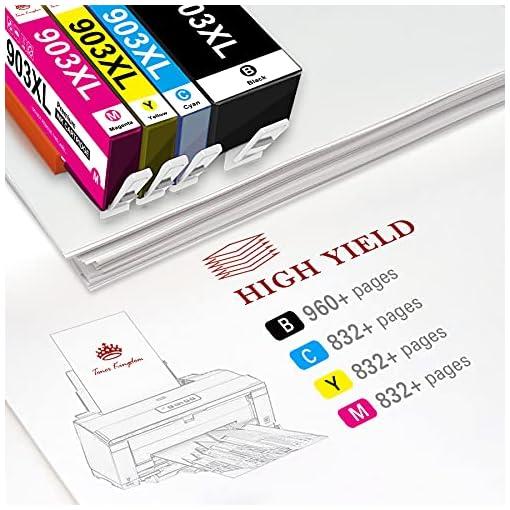 Toner Kingdom Chip de Actualización 903XL Cartuchos de Tinta Compatible para HP 903XL 903 para Impresoras HP Officejet… 4