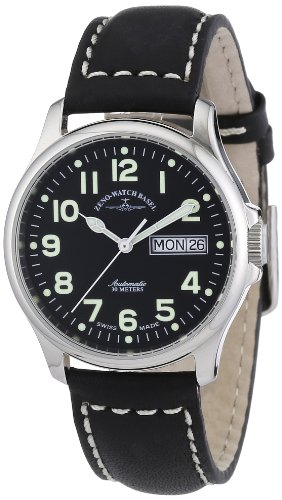 Zeno Watch Basel Pilot Basic 12836DD-a1 - Reloj unisex automático, correa de piel color negro