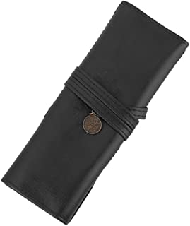 Pxio Retro Pencil Roll UP Case Wrap Pouch Artificial Leather (Black)