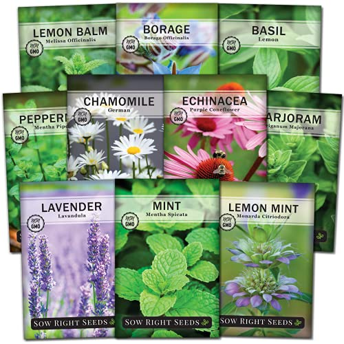 Sow Right Seeds - Large Herbal Tea Garden Seed Collection - Lemon Balm, Mint,...