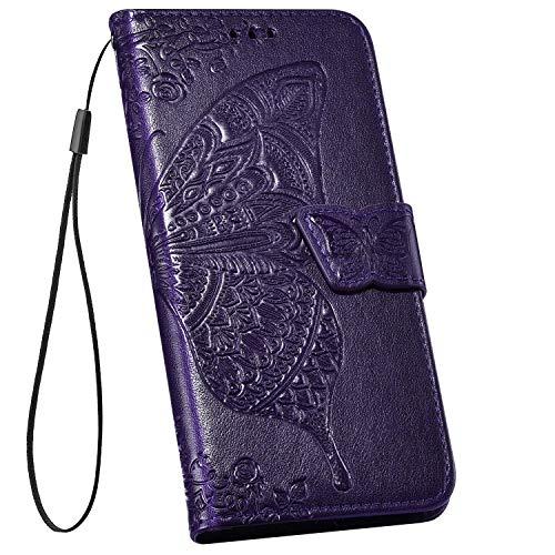 Ysimee Hülle kompatibel mit Samsung Galaxy S10 5G Schutzhülle PU Leder Schutzhülle Wallet Flip Ledertasche Case Handyhülle Lederhülle Handy Tasche Schale [Standfunktion] [Kartenfach], Dunkelviolett