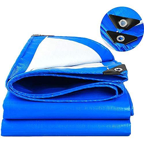 Lona De Plástico PE Impermeable Y Protector Solar Lona Acampar Al Aire Libre 1,85 * 1,85m/Azul y Blanco