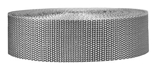 Correa de polipropileno pesado de Strapworks – Fleje de polietileno resistente para reparación de engranajes al aire libre, 3,5 cm x 10 yardas, gris plateado