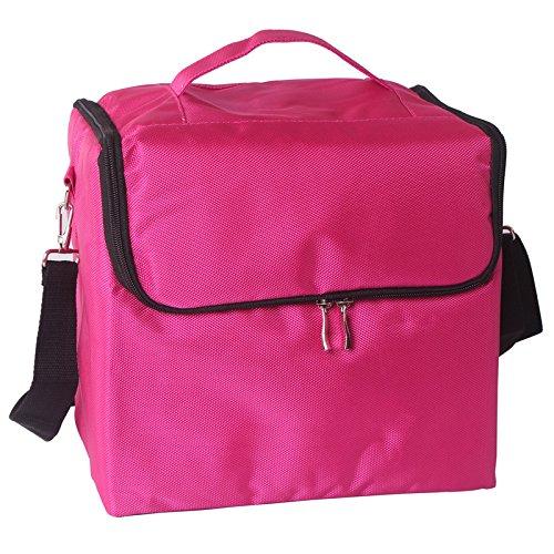 RY@ Multifonctionnel portable en bandoulière épaule Oxford professionnel cosmétiques PeliCases (29 * 21 * 27. 5 cm) , Pink
