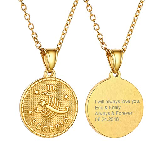 Engraving Gold Scorpio Zodiac Sign Coin Necklace, 12 Constellation Astrology Pendant Birthday Gifts