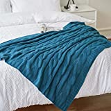 Battilo Cable Knit Throw Blanket, Acrylic Soft Cozy Snuggle TV Blanket, All Seasons Suitable for Adults and Kids, 50'x60' (Teal)