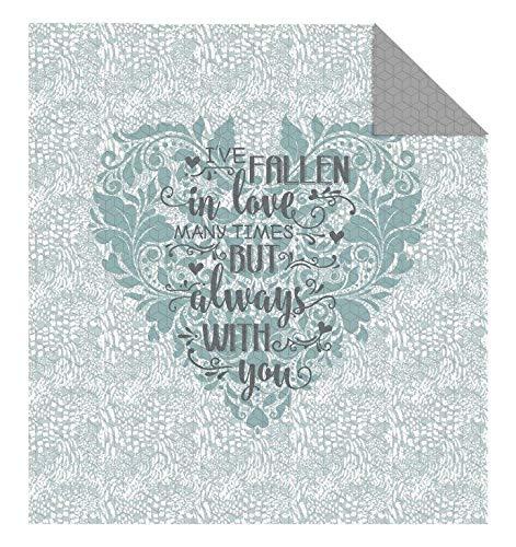 Colcha de 220 x 240 cm (trampas en amor), color gris y verde