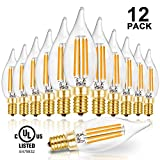 switch led bulb 40w - Hizashi 90+ CRI LED Candelabra Bulb Flame Tip 40W Equivalent Dimmable E12 Filament Candle Bulbs 4W, 450 Lumens, 2700K Warm White CA10 LED Chandelier Light Bulbs, UL Listed - 12 Pack
