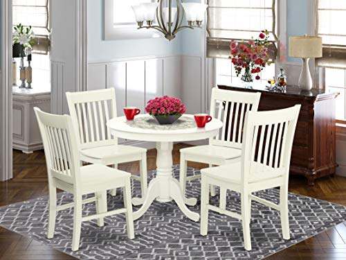 East West Furniture Modern Table 4 Fantastic Wooden Dining Chairs Kitchen Set, 5 Pieces, Linen White
