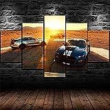 XHYUE 5 Piezas Cuadro sobre Lienzo Imagen Póster Coches Ford Mustang Shelby GT500 Impresión Pinturas Murales Decor Dibujo con Marco Fotografía 78.7x39.5 Inch(WxH)