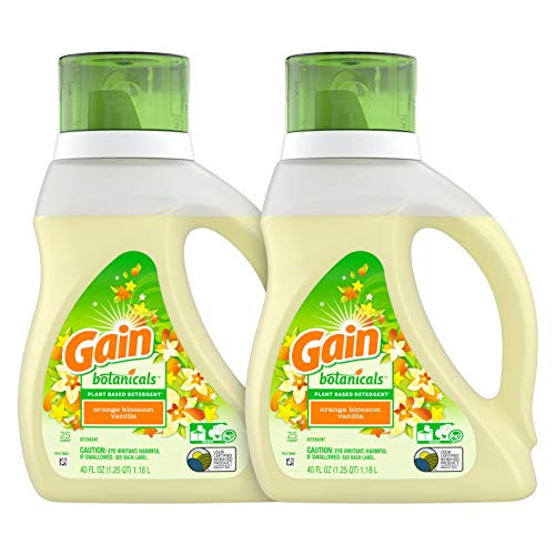 Gain Botanicals Plant Based Laundry Detergent, Orange Blossom Vanilla, 25 Loads, 40 ounces, 2 count (Packaging May Vary)