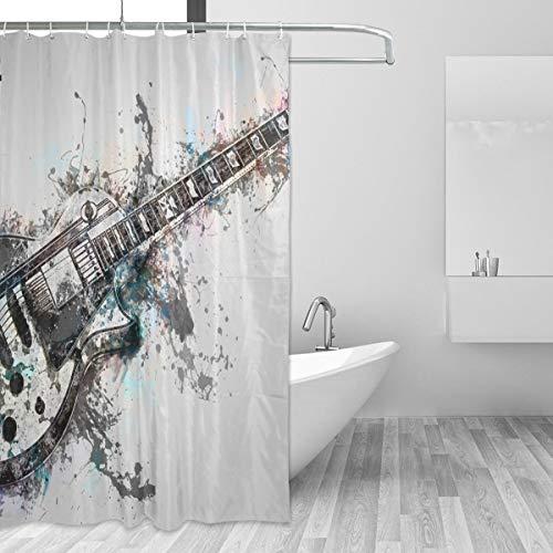 FANTAZIO Duschvorhang, Gitarre, Instrument, Musik, Polyester, mit dicken C-förmigen Haken, für Badezimmer, wasserdicht, langlebig & super wasserdicht, 183 x 183 cm