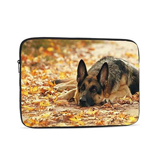 Laptop Sleeve Bag German Shepherd Dog Autumn Leaves Portable Zipper Tablet Cover Bag Notebook Computer Protective Bag,Black