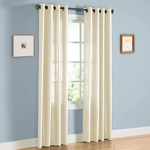 """Empire Furniture USA Jenner Solid Faux Silk Grommet Window Curtain Panel New ARIVAL Sale (84"""" Standard, Beige)"""