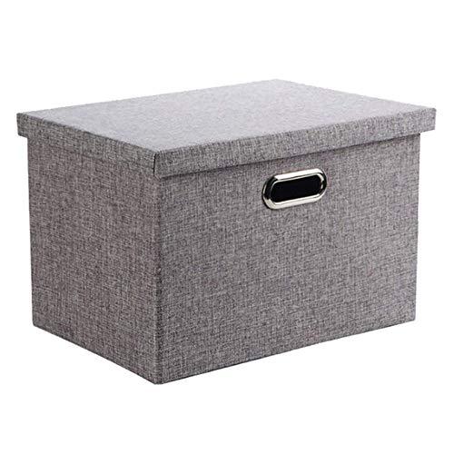 Aufbewahrungsbox, Wintao Faltbare Leinentuch Kleidung Ablagekorb, mit Deckel, grau, 3 Größen - S