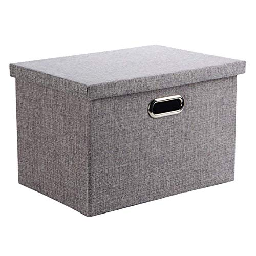 Wintao Storage Box Collapsible Linen Fabric Clothing Shelf Basket Bins Toy Box Home Office Organizer with Lids Extra Large Grey 44x31x29cm 38Litre