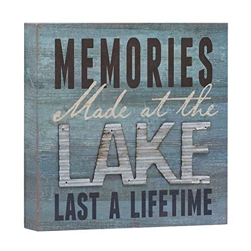 """Barnyard Designs Memories at The Lake Last a Lifetime Box Wall Art Sign, Primitive Country Lake Home Decor Sign with Sayings 8"""" x 8"""""""