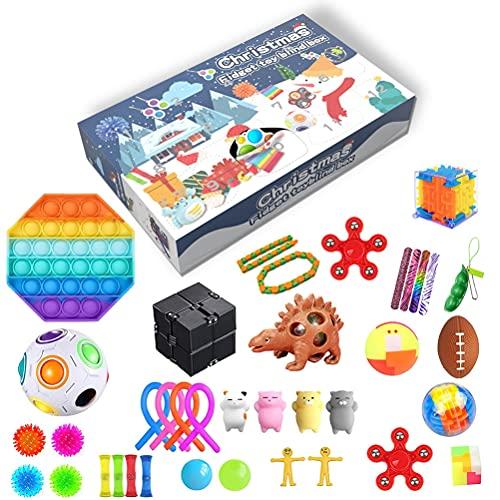 Fidget Toys Pack Barato, 25Pcs Juguetes del Calendario de Adviento Fidget, Juguetes Antiestres Sensorial Fidget,Calendario de Cuenta Regresiva de Navidad 24 Días de Cuenta Regresiva para Niños Regalo