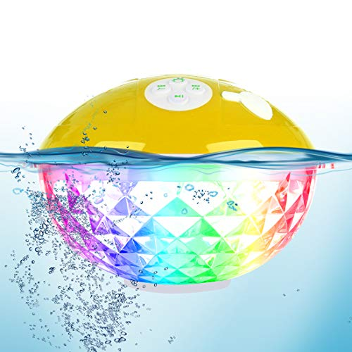 Portable Bluetooth Speakers with Colorful Lights Show,IPX7 Waterproof Shower Speaker,Built-in Mic Crystal Clear Stereo Sound Floating Wireless Speaker 50ft Range for Outdoor Travel Home Party Pool.