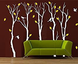Fymural Large 5 Poplar Trees Wall Stickers Art Mural Wallpaper for Kid Baby Nursery Livingroom Background Vinyl Removable DIY Decals 133.9x102.4,White