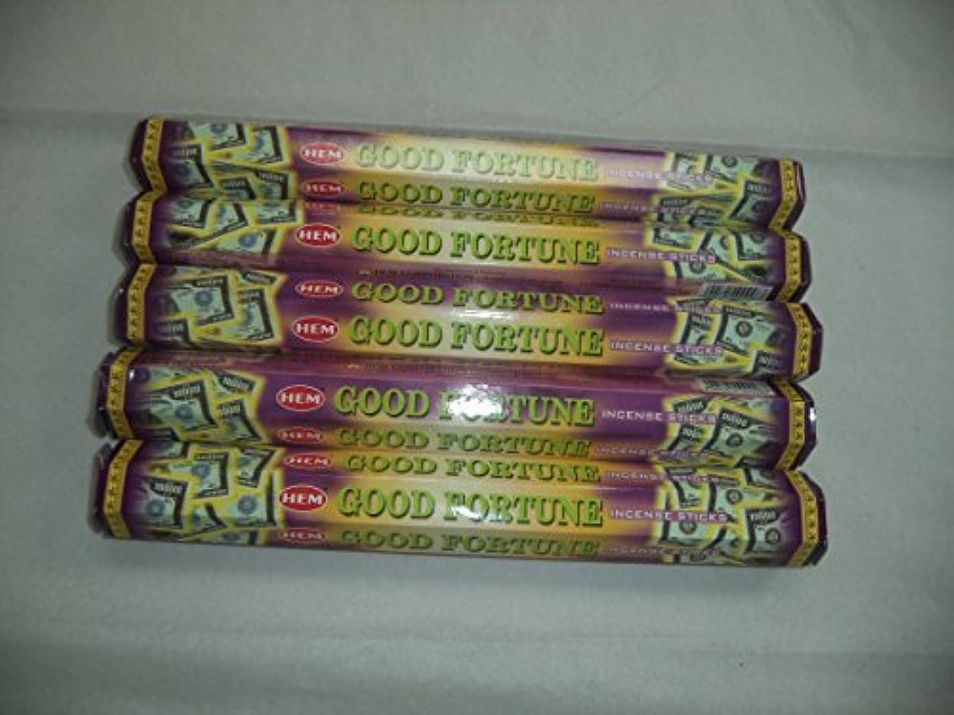 浴飢えヒューズHem Good Fortune 100?Incense Sticks (5?x 20スティックパック) by裾