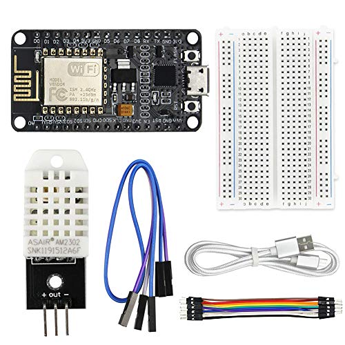 WayinTop DHT22 Sensore di Temperatura e umidità Server Web Kit per ESP8266 con Tutorial, ESP8266 ESP-12E Internet WiFi Modulo + DHT22 Sensore + 1M Cavo USB + 400Pin Breadboard + 10Pin Cavo Jumper