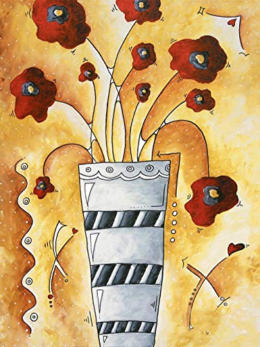 New Paint by Numbers for Adults Children - Red Flowers in A Vase - DIY Digital Painting by Numbers Kits On Canvas