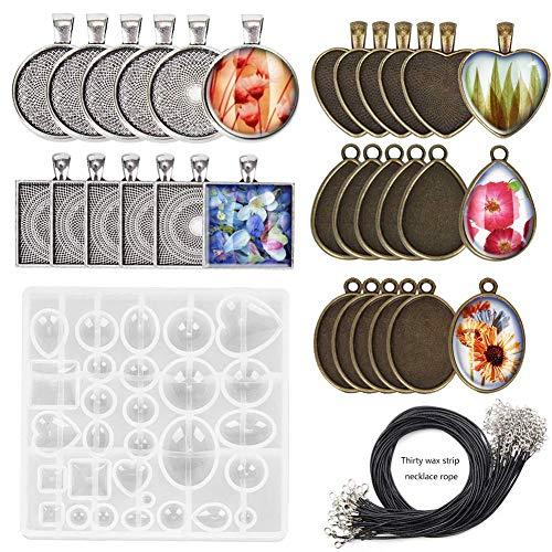 Keyzone 61 Stücke Cabochon Set Formen Silikonform Harz Glaskuppel Fassung Gießenform Resin Schmuck Basteln mit Lünette Anhängern Silber Bronze Halskette Kreative Weihnachten Dekoration Schmuck Set