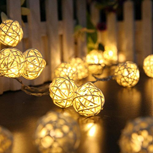 Goodia Battery 1.2M 10 LED 4cm White Rattan Ball String Lights for Indoor,Bedroom,Curtain,Patio,Lawn,Landscape,Fairy Garden,Home,Wedding,Holiday,Christmas Tree,Party(Warm White)