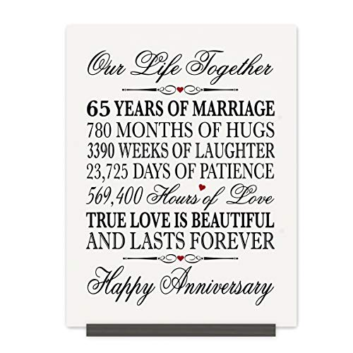 LifeSong Milestones Floral 65th Anniversary Plaque 65 Years of Marriage - Sixty Five Year Wedding Keepsake Gift for Parents Husband Wife him her - Our Life Together (8x12 Floral Rope Sign)