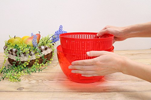 現代百貨野菜の水切り器アップルサラダスピナーSレッドK333-RD